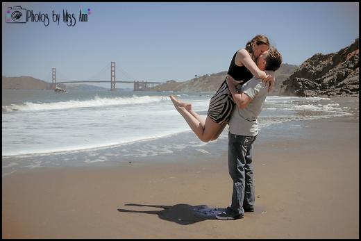 Jumping Engagement Photo China Beach San Francisco Engagement Session Photos by Miss Ann