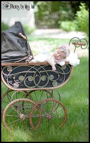 Vintage Buggy Newborn Girl Session Plymouth MI Newborn Photographer