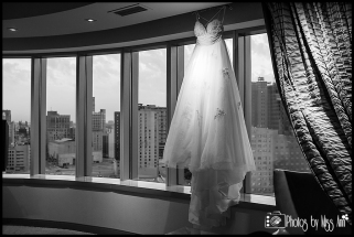 MGM Grand Detroit Wedding Photos Wedding Dress on Hanger