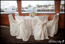 Reception Setup on Infinity Boat Wedding Photographer Michigan